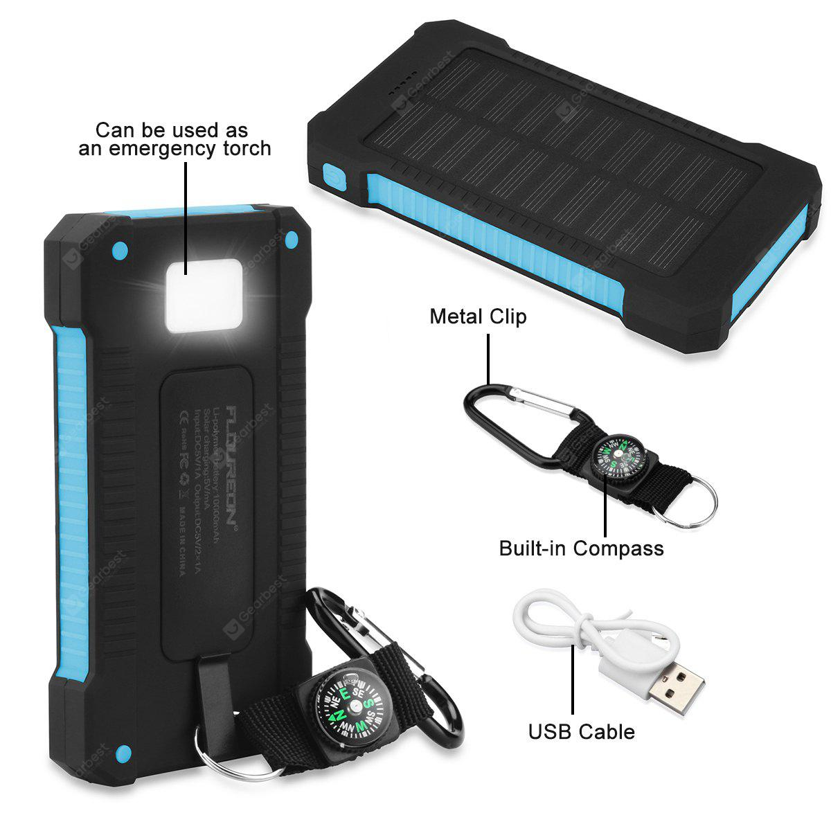 Floureon 10000mAh Green Solar Power Bank