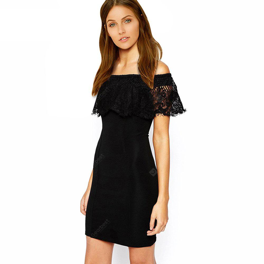 Kenancy Sexy Off Shoulder Lace Sheat Dress Female Short Club Pencil ...