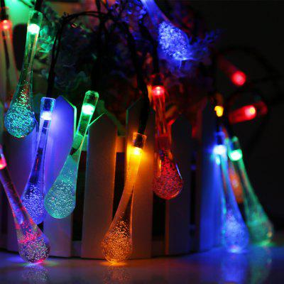 Battery Powered 20 LEDs 3D Clear Water Drop String Lights with Steady/Flashing Light Mode for Indoor Outdoor Garden Patio Yard Home Christmas Party Holiday Festival Wedding Celebration, RBG Glow
