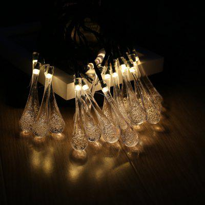Battery Powered 20 LEDs 3D Clear Water Drop String Lights with Steady/Flashing Light Mode for Indoor Outdoor Garden Patio Yard Home Christmas Party Holiday Festival Wedding Celebration, Yellow Glow