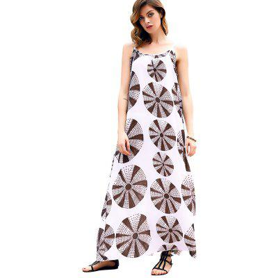 Buy AS THE PICTURE L 2016 summer casual national printing backless loose woman braces dress for $17.05 in GearBest store