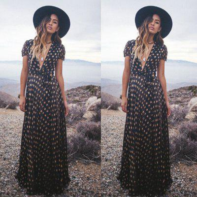 ZAFUL brand 2016 new arrival summer style printing  maxi dress woman short sleeve deep V neck casual loose star pattern  dress
