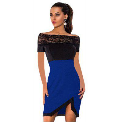 Buy BLUE L 2016 new arrival summer style fashion lace stitching design woman a word shoulder sexy dress for $10.17 in GearBest store