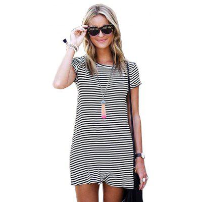 Buy STRIPES XL 2016 new fashion round neck stripe T-shirt woman short sleeve casual dress for $8.76 in GearBest store