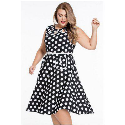 2016 New Simple Lacunal Retro Polka Dot Print Dress Womens Round Collar Sleeveless Full Circle Vintage Dress with Belt