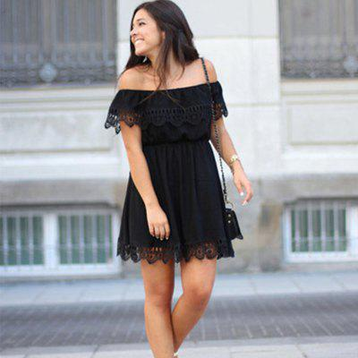 2016 new arrival summer  street style slash neck dress women lace hook flower short sleeves tube dress
