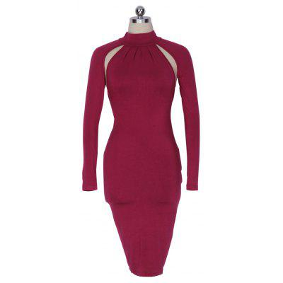 Buy WINE RED Women OL Elegant Dress Neckline High Quality Sexy Hollow Out Women Party Sexy Bodycon Hips Dresses Backless Pencil Sheath Wholesale Plus Size for $12.72 in GearBest store