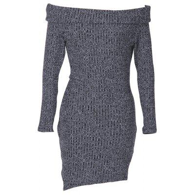 Woman ribbed dress new fashion casual style jersey womens sexy off-the-shoulder fold-over neckline long sleeve and asymmetrical hem design solid color fitted high-strench textured sweater dress