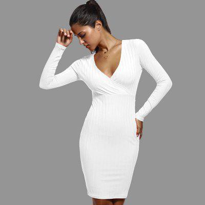 Buy WHITE L Womens Elegant Sexy Hot V Neck Leopard Draped Long Sleeve Tunic Casual Party Club Clubwear Pencil Sheath Plus Size XL Dress for $12.59 in GearBest store