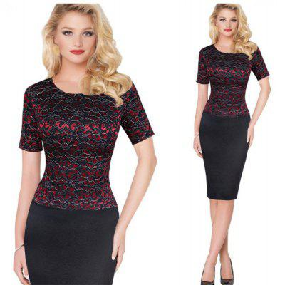 Gamiss Elegant Lace Dress Women Delicate Floral Lace Short Sleeve Dress Work Party Cooktail Sheath Bodycon  Pencil Dress