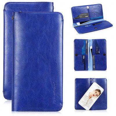 Excelvan Dual Pocket Business Leather Clutch Bag Card Case Purse For iPhone Smartphone Less than 5.5 Inch