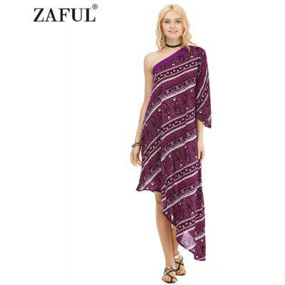 Zaful Woman Dress Spring And Summer Bohemian Printing Ethnic Style One-shoulder And Asymmetrical Hem Design Midi Dress