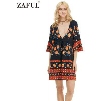 Zaful Woman Dress Spring And Summer Bohemian Floral Printing Ethnic Style Plunging neckline And Trumpet Sleeve Design Mini Dress