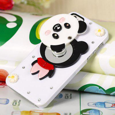 Cool Panda Style Diamonds Clear Plastic Shell Case for iPhone 5 with Mirror