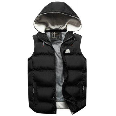 Men's Warm Waistcoat Casual  Vest Sleeveless Jacket with Detachable Hoodie
