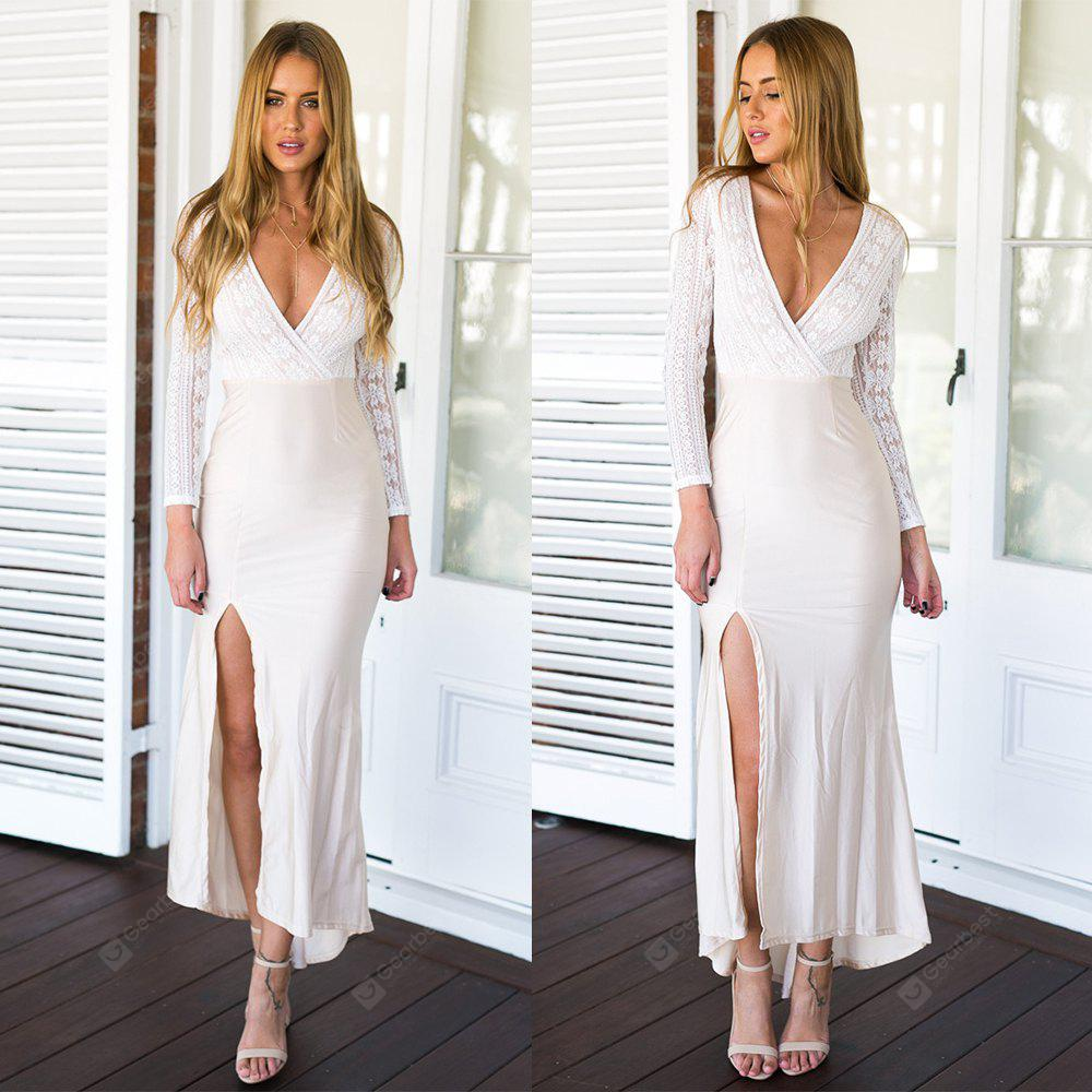 WHITE S 2016 new arrival sexy style deep V lace stitching high split connect long dress