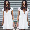 2016 fashion sexy deep-V-neck irregular hem woman chiffon dress - BLANC