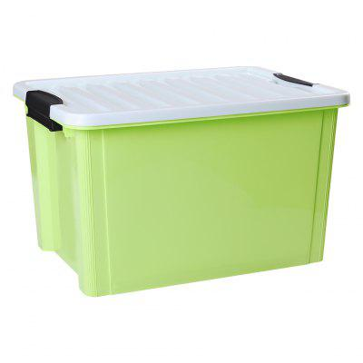 LANGRIA 30 Litre Stackable Buckle-up Plastic Storage Box Container Bin Multi-Functional Tote with Smooth Rolling Wheels and Grooved Lid for Storage Clothes Accessories Toys and Office Supplies, Green