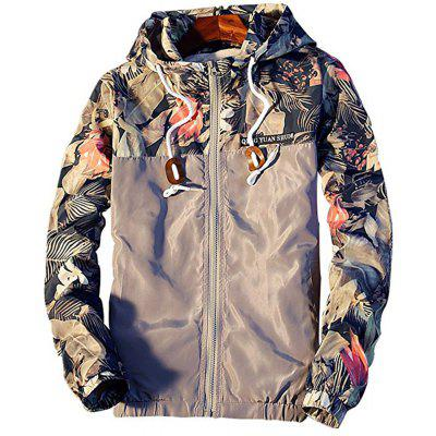 Gray Floral Bomber Jacket Men Hip Hop Slim Fit Coats Flowers Pilot ...