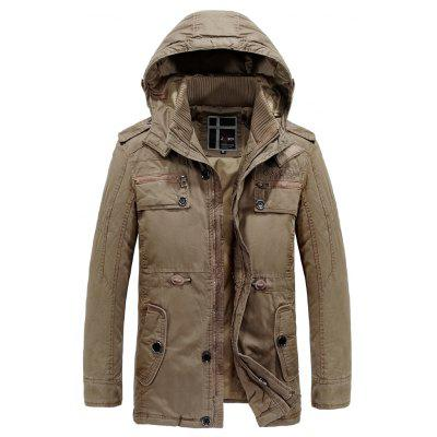 Mens Coats Cotton Parkas Winter Military Casual Trench Hooded