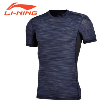 Li-Ning Men's Training Slim Fit T-Shirt Short Sleeve Base Layer AT DRY Breathable Sports Tee Tops AUDM081