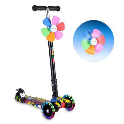 KUOKEL Children Folding  Flashing PU Wheels 4 Wheel Adjustable Height Handle Kick Scooters with Mini Winnower White