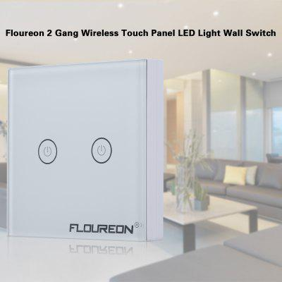 Floureon 2 Gang 1 Way Wireless RF Remote Control Light Switch 433.92MHz Remote Controller Portable Switch Wall Switch LED Light White Tempered Glass Panel with Two Receivers