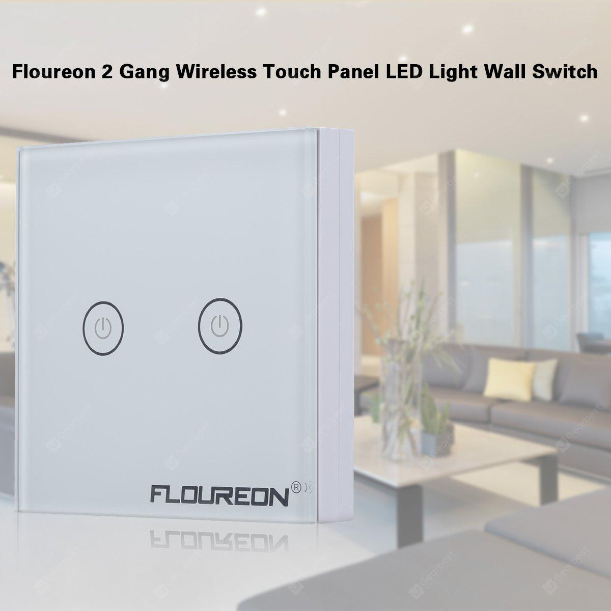 Floureon 2 Gang 1 Way Wireless RF Remote Control Light Switch 433.92MHz Remote Controller Portable Switch Wall Switch LED Light White Tempered Glass Panel Two Receivers - WHITE