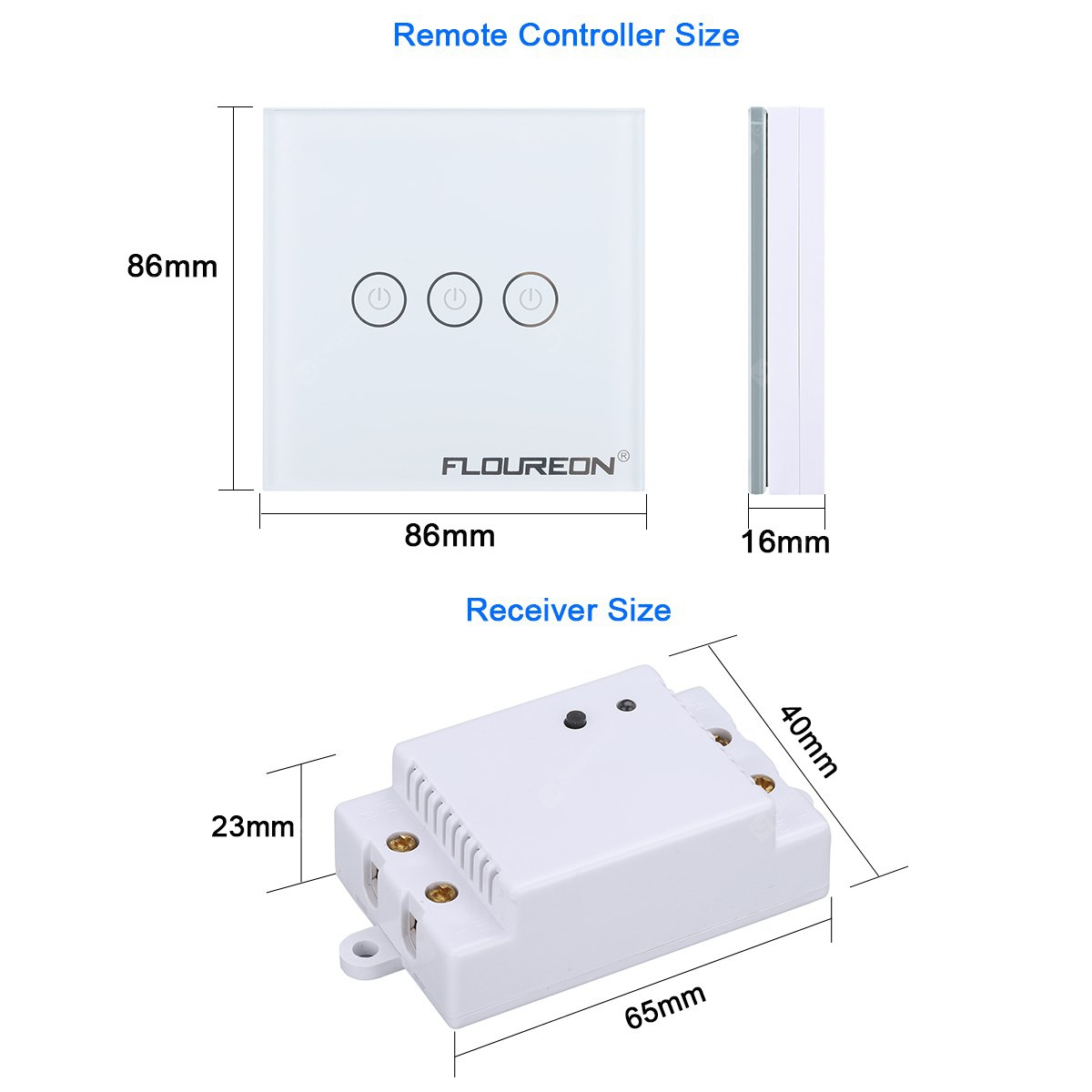 Floureon 3 Gang 1 Way Wireless RF Remote Control Light Switch 433.92MHz Remote Controller Portable Switch Wall Switch LED Light White Tempered Glass Panel  withe Three Receivers  - WHITE