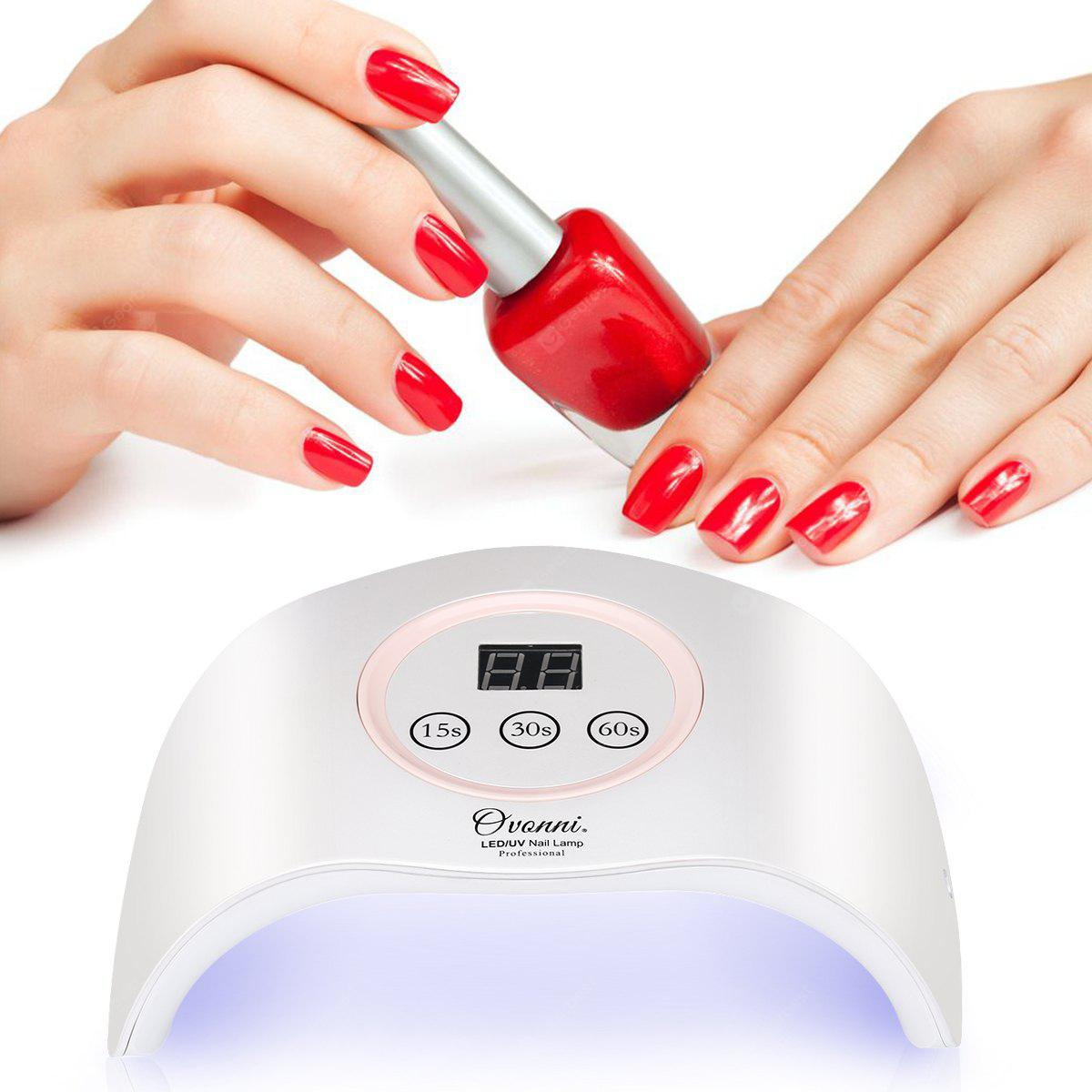 Ovonni Nail Dryer UV LED Nail Lamp, Built-In Auto On/Off Sensor, 3 Timers Fast Curing Nail polishes & Gel Nail Polishes, Pearl White/ Pink - WHITE