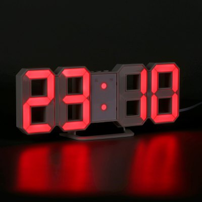 Red LED Digital Numbers Wall Clock with 3 levels Brightness Alarm Snooze Clock
