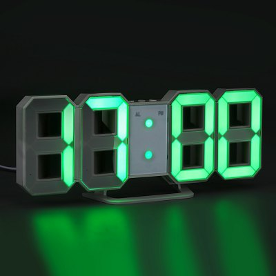 Green LED Digital Numbers Wall Clock with 3 levels Brightness Alarm Snooze Clock