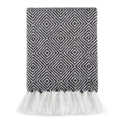 LANGRIA Geometric Pattern Knitted Tasseled Fringe Throw Blanket Reversible Cozy Soft Warm Bed Sofa Couch Multifunctional Throw Lightweight Easy Care for All Seasons, 50 x 60, BlackHome &amp; Garden<br>LANGRIA Geometric Pattern Knitted Tasseled Fringe Throw Blanket Reversible Cozy Soft Warm Bed Sofa Couch Multifunctional Throw Lightweight Easy Care for All Seasons, 50 x 60, Black<br>