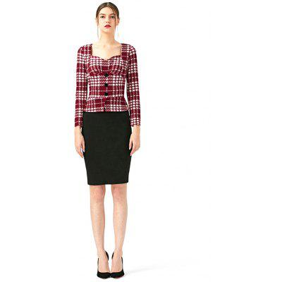 Buy Kenancy Women False 2 Piece Set Women Dress Plaid Patchwork Long Sleeve Pencil Dress Elegant Plaid Sheath Business Work Office Dresses RED XL for $10.99 in GearBest store