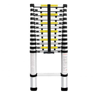 (TELE LADDER+SPACER 380P DE) Finether 3.8M Portable Heavy Duty Multi-Purpose Aluminum Telescoping Ladder with 1-Inch Finger Protection Spacers, EN131 Certified, 330 Lb Capacity, Lightweight & Convient