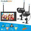FLOUREON Digital Wireless Outdoor 2 CCTV Camera System 7\\\ - BLACK