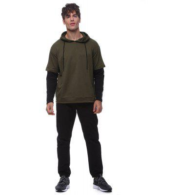 Men'squality long-sleeved hooded drawstring fake two sweatshirts sweater