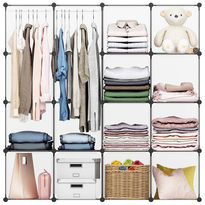 LANGRIA 16-Cube Organizer Stackable Plastic Cube Storage Shelves Design Multifunctional Modular Closet Cabinet with Hanging Rod for Clothes Shoes Toys Bedroom Living Room (White)Home Textile<br>LANGRIA 16-Cube Organizer Stackable Plastic Cube Storage Shelves Design Multifunctional Modular Closet Cabinet with Hanging Rod for Clothes Shoes Toys Bedroom Living Room (White)<br>
