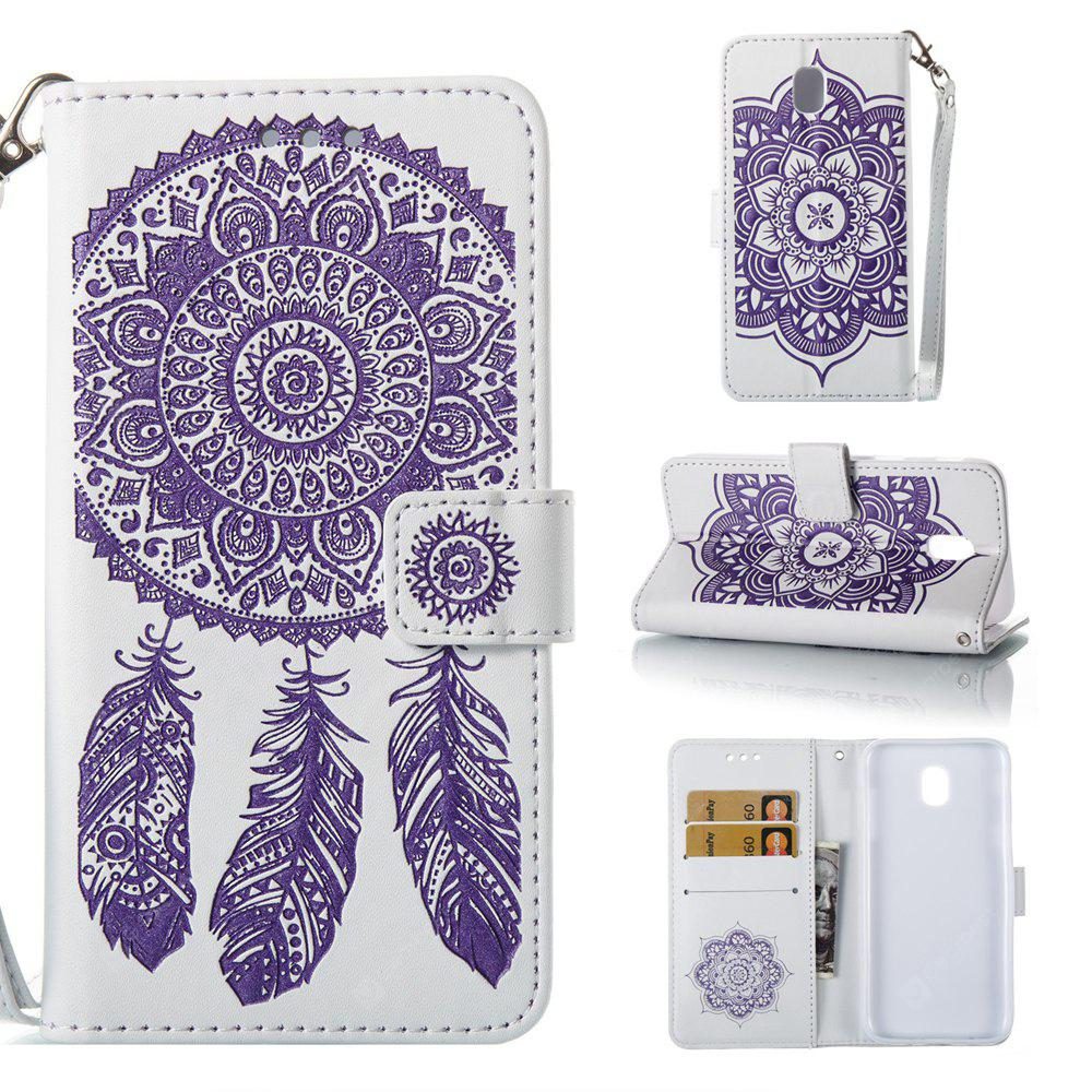 Wkae Bell Flower Embossing PU Leather Case with Wallet Card Slots for Samsung J530