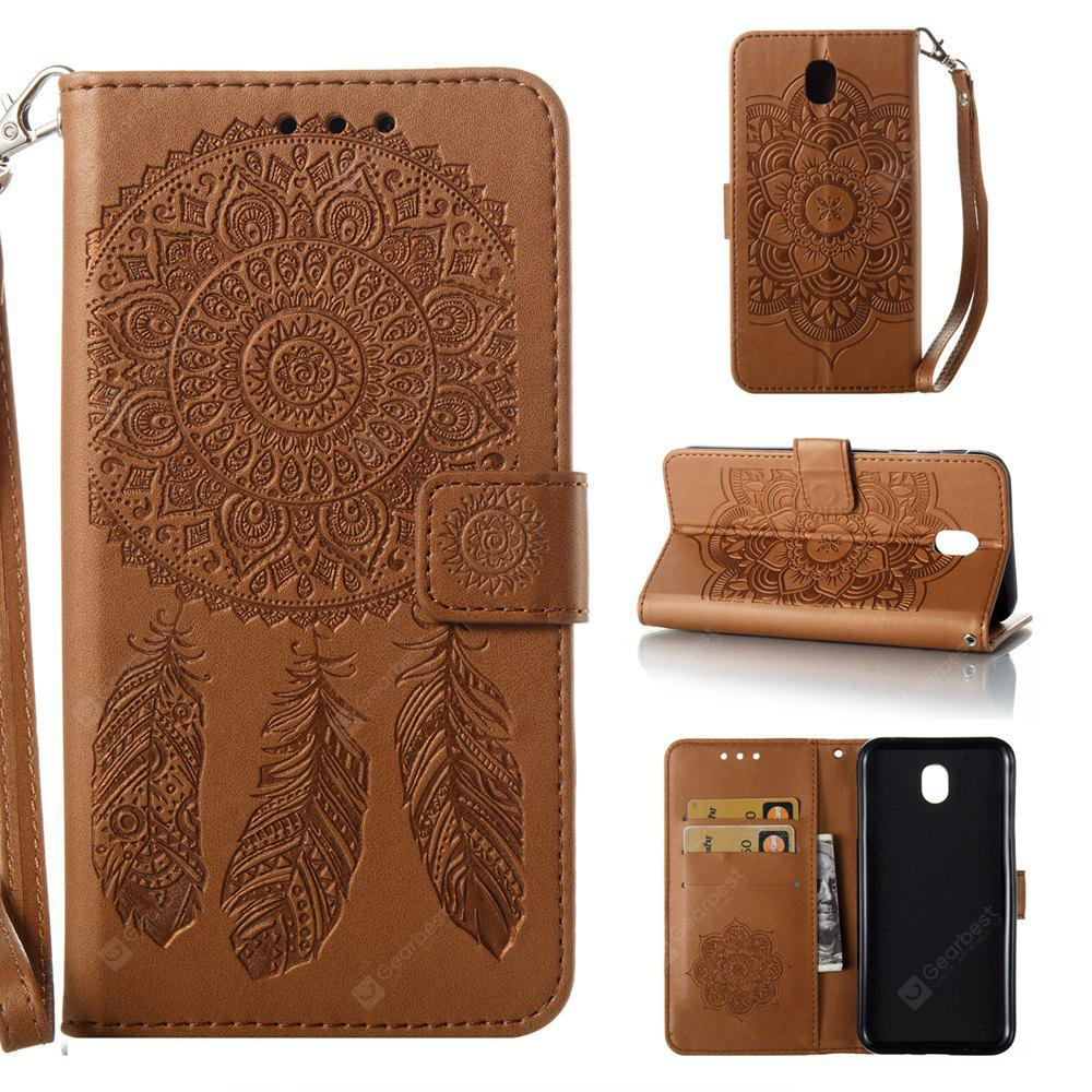 Wkae Bell Flower Embossing PU Leather Case with Wallet Card Slots for Samsung J730