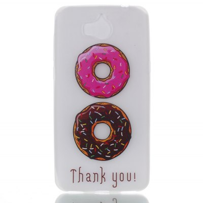 Wkae Case Two-tone Doughnut Colorful Pattern Noctilucent Soft Transparent Case for HUAWEI Y5 2017