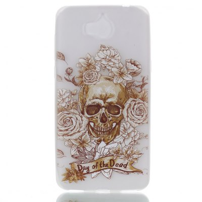 Wkae Skull Rose Colorful Pattern Noctilucent Soft Transparent Case for HUAWEI Y5 2017