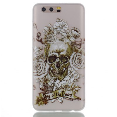 Wkae Rose Skull Colorful Pattern Noctilucent Soft Transparent Case for HUAWEI Honor 9