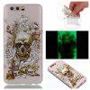 Wkae Rose Skull Colorful Pattern Noctilucent Soft Transparent Case for HUAWEI Honor 9 - GOLDEN