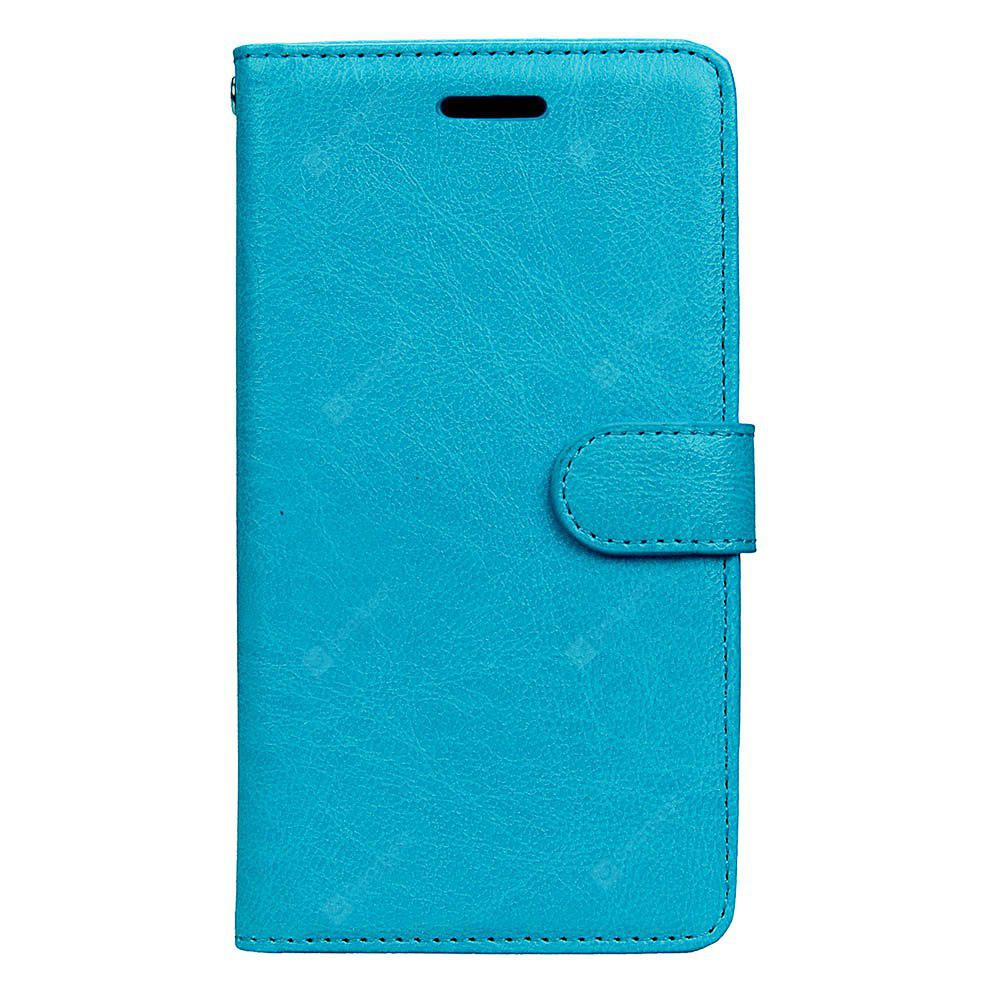 Wkae Solid Color PU Leather Flip Stand Case Wallet Three Card Slots HUAWEI P8 Lite 2017 BLUE