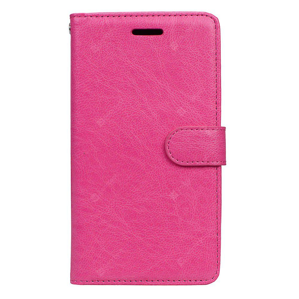 Wkae Solid Color PU Leather Flip Stand Case Wallet Three Card Slots HUAWEI P8 Lite 2017 ROSE RED