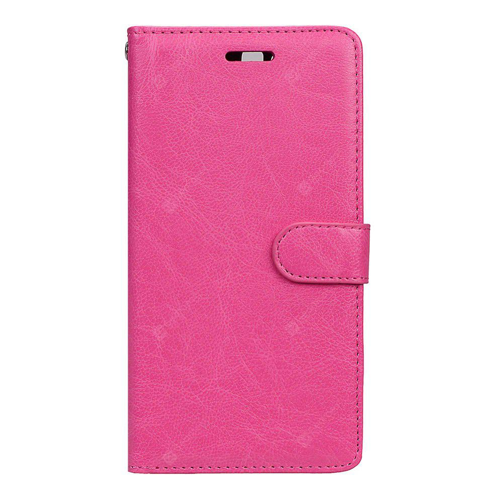 Wkae Solid Color PU Leather Flip Stand Case Wallet Three Card Slots HUAWEI P10 Plus ROSE RED