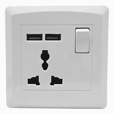 86 x 86mm Wall Mounted Dual-USB + 3-hole AC Power Socket Panel (100-265V)