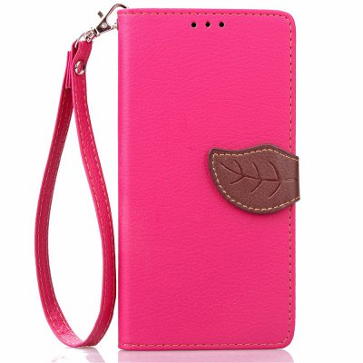 Buy ROSE RED Love Leaf Card Lanyard Pu Leather for OPPO R7S for $6.07 in GearBest store