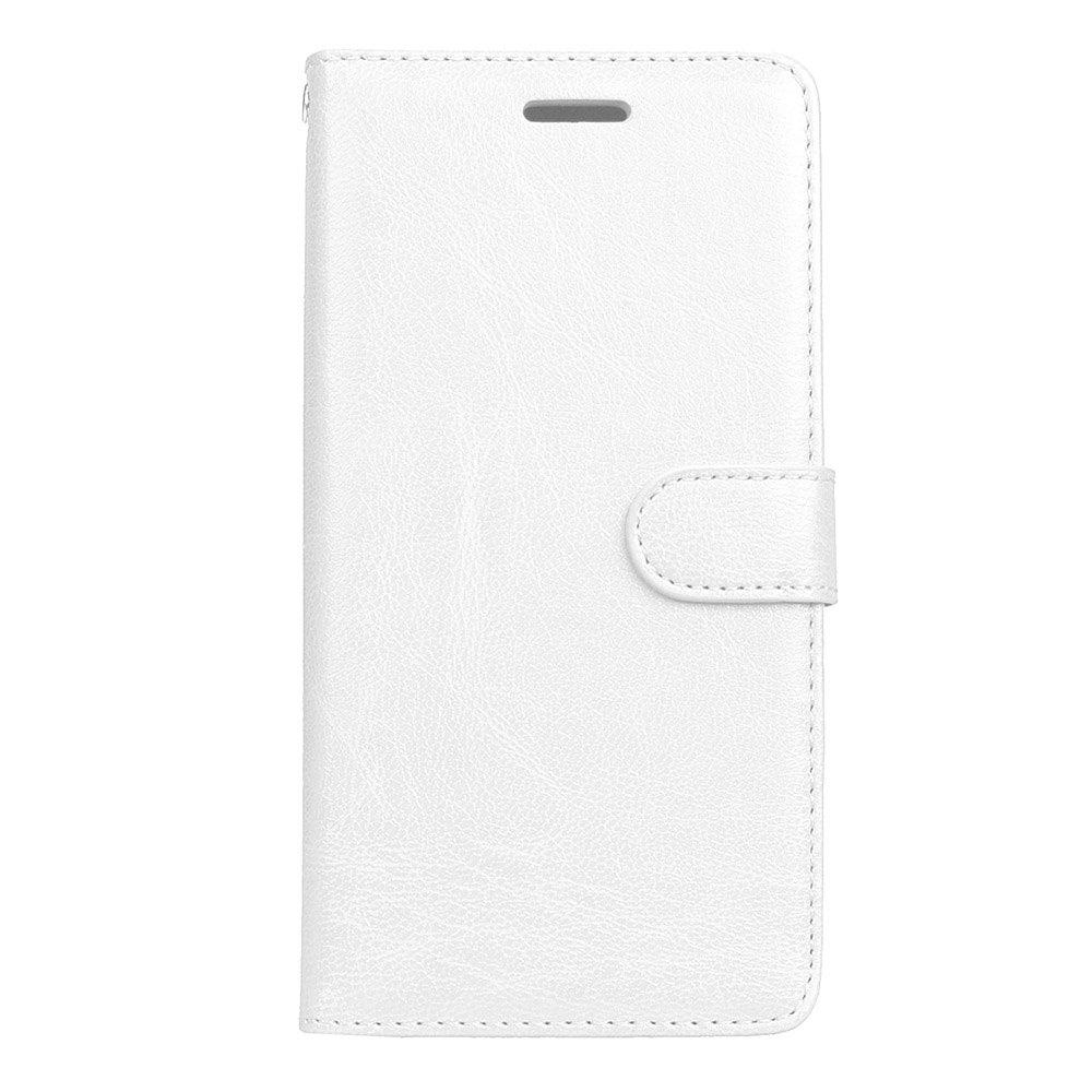 WHITE Wkae Solid Color PU Leather Flip Stand Case with Wallet and Three Card Slots for Motorola MOTO M